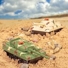 Tobar Remote Control Battle Tanks - Green and Cream