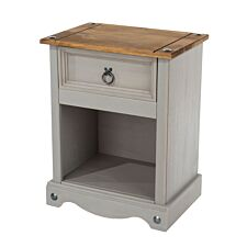 Halea Pine 1-Drawer Bedside Cabinet - Grey