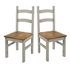 Halea Grey Pair of Solid Pinewood Chairs