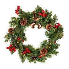 Robert Dyas Pre-Lit Christmas Pine Wreath with Rustic Bells & Berries - 50cm