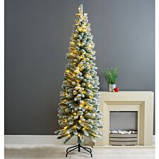 6ft Robert Dyas Duchess Slim Flocked Pre-Lit Christmas Tree