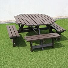 NBB Recyled Heavy Duty Octagonal 8-Seater Picnic Table - Brown