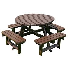 NBB Recycled Heavy Duty Round Picnic Table - Brown