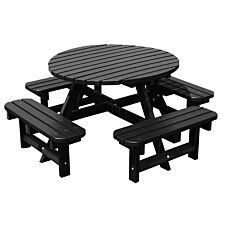 NBB Recycled Heavy Duty Round Picnic Table - Black