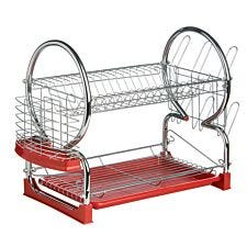Premier Housewares 2-Tier Dish Drainer - Chrome & Red