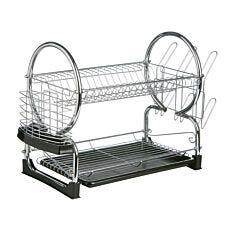 Premier Housewares 2-Tier Dish Drainer - Chrome & Black