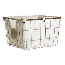 Premier Housewares Storage Basket with Gold Wire Frame