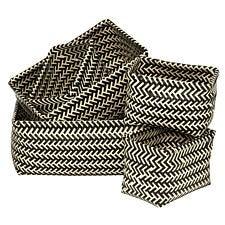 Premier Housewares Set of 5 Woven Storage Baskets - Black & White