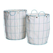 Premier Housewares Set of 2 Round Laundry Baskets with Blue Frame