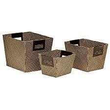 Premier Housewares Pandanus Set of 3 Storage Baskets - Black & Natural