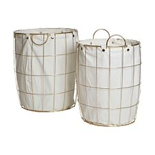 Premier Housewares Set of 2 Round Laundry Baskets with Gold Plate Frame