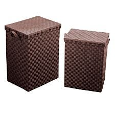 Premier Housewares Set of 2 Woven Laundry Baskets - Brown