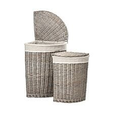 Premier Housewares Set of 2 Mesa Corner Laundry Baskets with Willow and Fabric Lining