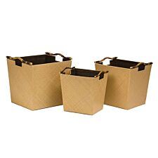 Premier Housewares Pandanus Natural Storage Baskets with Bamboo Handles - Set of 3