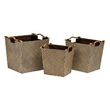 Premier Housewares Pandanus Storage Baskets with Bamboo Handles - Set of 3