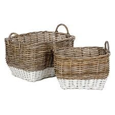 Premier Housewares Hampstead Kubu Rattan Set of 2 Storage Baskets - Grey & White