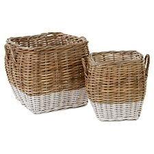 Premier Housewares Hampstead Square Kubu Rattan Set of 2 Storage Baskets - Grey & White