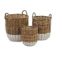 Premier Housewares Hampstead Kubu Rattan Set of 3 Storage Baskets - Grey & White