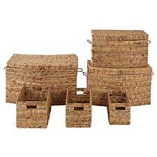 Premier Housewares Water Hyacinth Storage Baskets - Set of 6