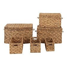 Premier Housewares Water Hyacinth Triple Twist Storage Baskets - Set of 6