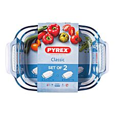 Pyrex 2-Piece Classic Medium Roaster Set - Clear