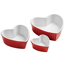 Premier Housewares Amour Set of 3 Heart Shape Stoneware Dishes - Red