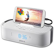 Groov-e TimeCurve Alarm Clock Radio with USB Charging Station - White