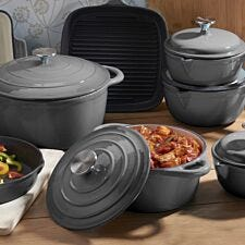 Cooks Professional Cast Iron 8pc Deluxe Pan Set - Grey