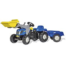 New Holland T7040 Kids Tractor with Front Loader and Trailer