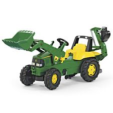 John Deere Kids Tractor with Front Loader and Rear Excavator