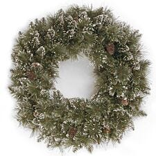 """24"""" National Tree Company Sparkling Pine Wreath with Cones"""