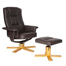 Alphason Drake Recliner Chair and Footstool - Brown
