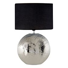 Premier Housewares Hattie Table Lamp in Silver Ceramic Rib Shell with Black Shade