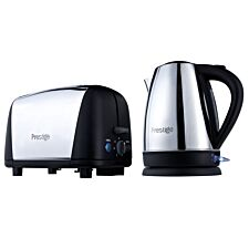 Prestige Breakfast Kettle and Toaster Set - Stainless Steel & Black