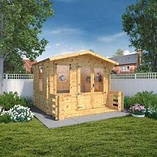 Mercia 19mm Log Cabin with Veranda - 3.3 x 3.4m