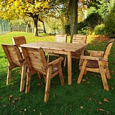 Charles Taylor Six Seated Rectangular Wooden Garden Table Set