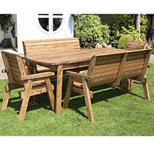 Charles Taylor Eight Seater Extra-Large Rectangular Wooden Garden Table Set
