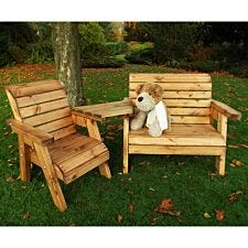 Charles Taylor Little Fellas Children's Wooden Bench/Chair Combination Set - Angled