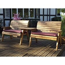 Charles Taylor Twin Bench Set Straight with Burgundy Cushions and Fitted Cover