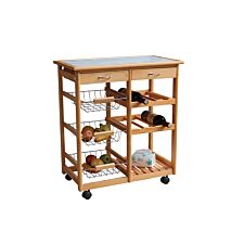 Double Kitchen Trolley with Ceramic Tile Top