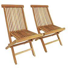 Charles Bentley Teak Folding Chairs - Set of 2