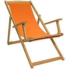 Charles Bentley FSC Eucalyptus Deck Chair - Orange