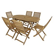 Charles Bentley FSC Acacia 6 Seater Oval Table Set