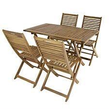 Charles Bentley FSC Acacia 4 Seater Rectangular Table Set