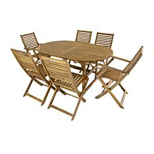 Charles Bentley FSC Acacia 6 Seater Oval Extendable Table