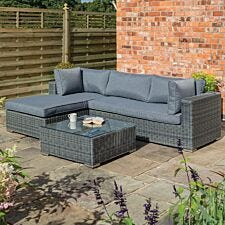 Rowlinson Vienna Lounger Set in Grey Weave