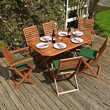 Rowlinson Plumley 6 Seater Dining Set with Green Cushions