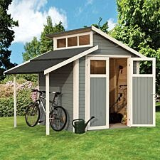 Rowlinson 7 x 10 Skylight shed with Lean-To - Painted Light Grey