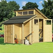 Rowlinson 7 x 10 Skylight Shed with Store - Unpainted Natural