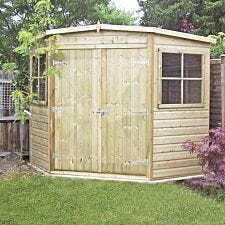 Shire Pressure Treated Corner Shed - 7ft x 7ft